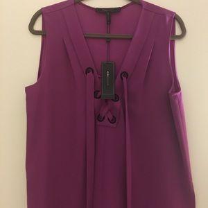 BCBG vibrant purple lace up top